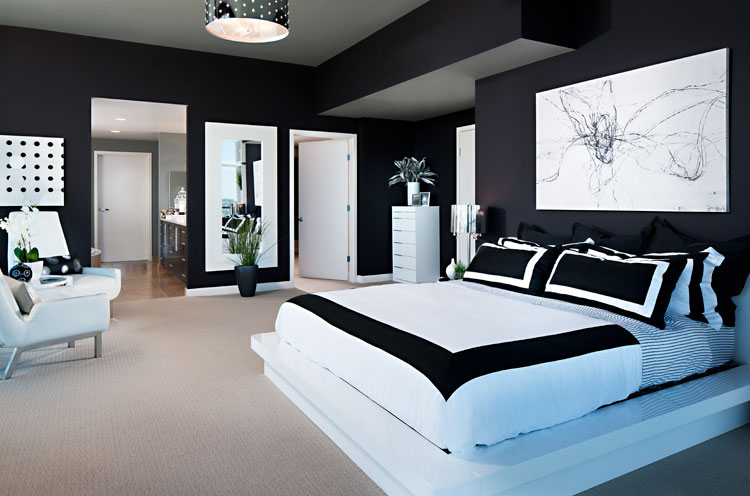 modern black and white bedroom by interior design photographer zack