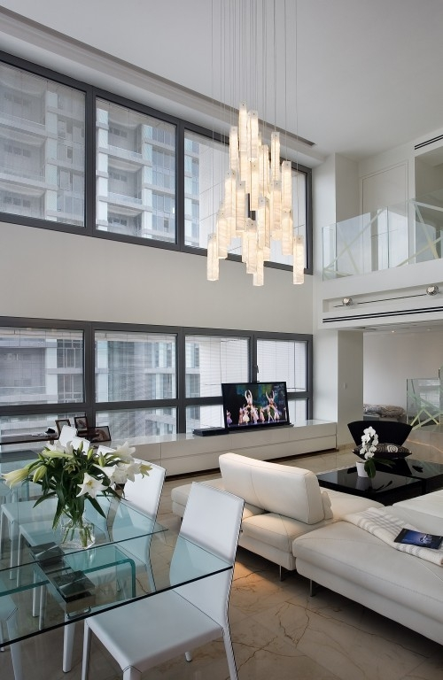 modern living room with great chandelier