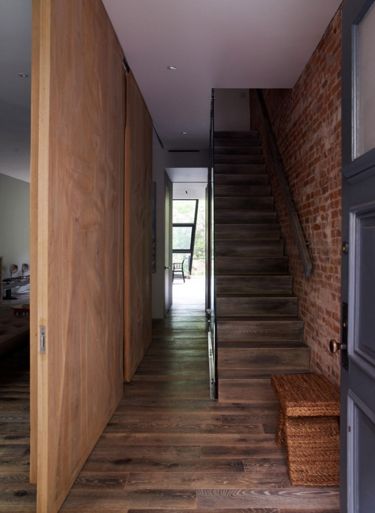contemporary wooden staircase by Archi-Tectonics